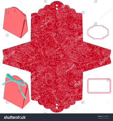 html pattern not empty box template floral pattern empty label stock vector