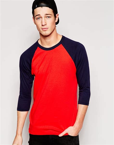 Raglan Polos Lengan 34 Anak Size 2 american apparel 3 4 sleeve raglan t shirt in blue for lyst
