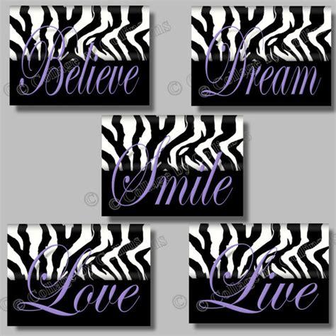 Cheetah Print Wall Stickers purple zebra print inspirational smile dream live love believe