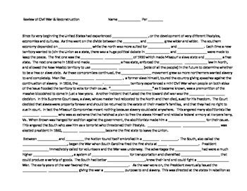 apush review review part ii reconstruction reconstruction review worksheet answers kidz activities