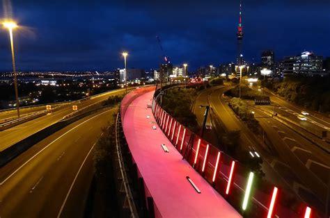street l at night te ara i whiti the lightpath greater auckland