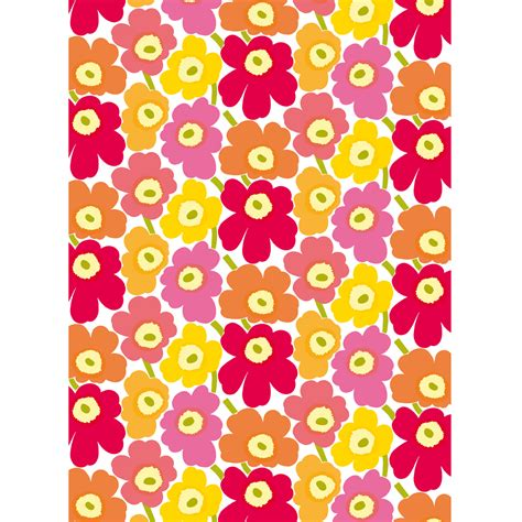 stoff marimekko marimekko pieni unikko yellow orange pink cotton