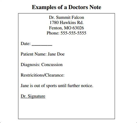 34 Doctors Note Sles Pdf Word Pages Portable Documents Sle Templates Dentist Note Template