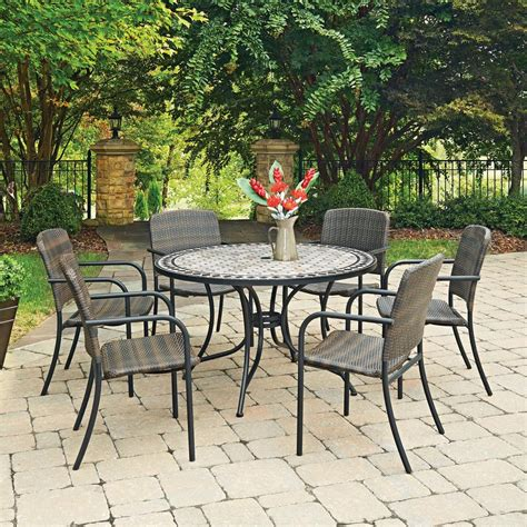 7pc Patio Dining Set Hton Bay Belleville 7 Padded Sling Outdoor Dining Set Fcs80198cst The Home Depot