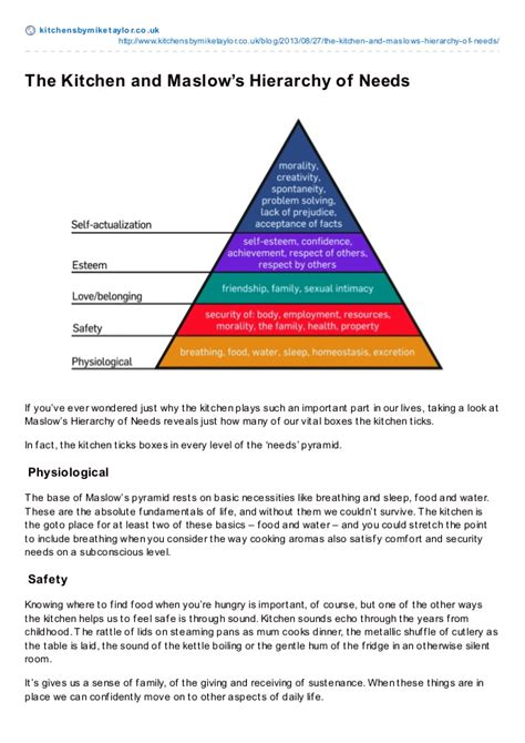 Kitchen Hierarchy by The Kitchen And Maslow S Hierarchy Of Needs