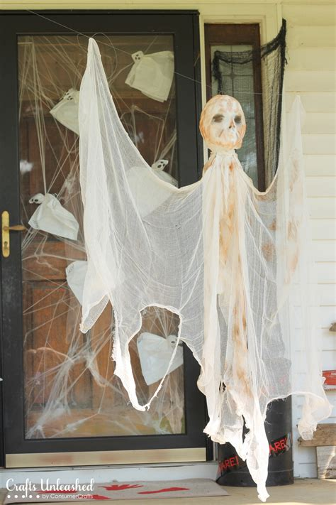 diy outdoor halloween decorations hanging mummy ghost