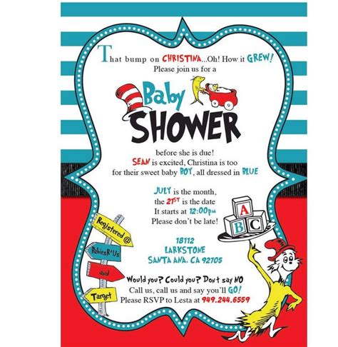 Dr Seuss Baby Shower Invitations Etsy by Dr Seuss Baby Shower Invitations Etsy