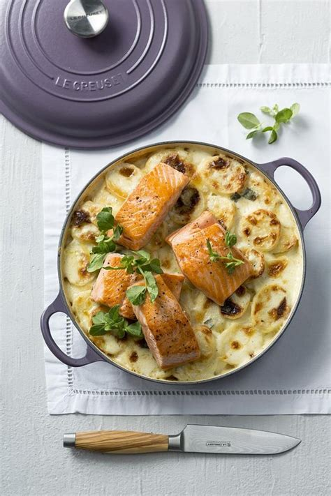 salmon buffet recipes potato bake with grilled salmon fillets le creuset amethyst buffet casserole mothers day