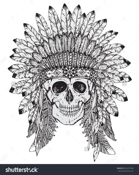 tribal chief tattoo vector illustration of american indian