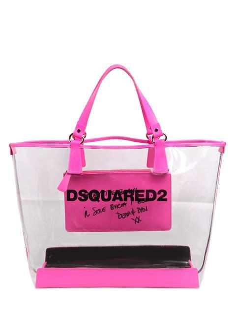 Pvc Tote Bag lyst dsquared 178 logo printed pvc tote bag in purple