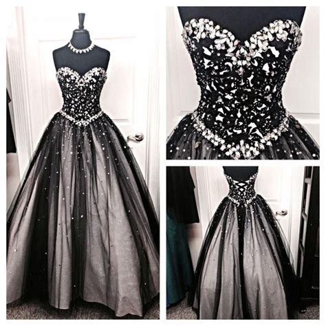 Most Fabulous Fashionable Black Dress Picks by Black And Silver Stones Prom Dresses Tulle Sweetheart