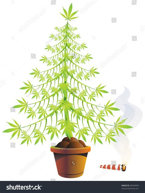 marijuana christmas tree pics marijuana tree pot burning spliff stock vector 90949499