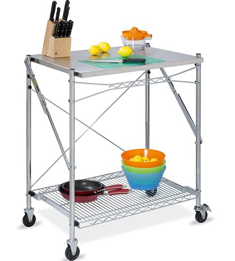 stainless steel folding utility table in kitchen island carts