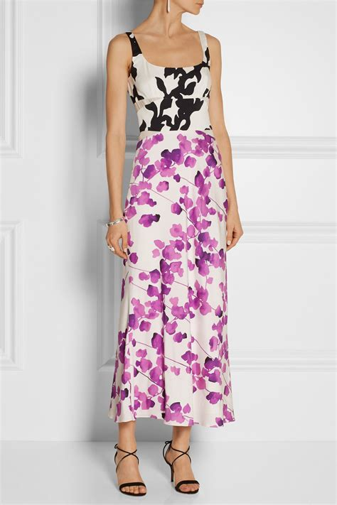 Who Wore It Better Narciso Rodriguez Lavender Tie Dress by Narciso Rodriguez Floral Print Stretch Silk Midi Dress In