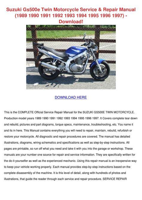 Suzuki Gs500e Twin Motorcycle Service Repair By