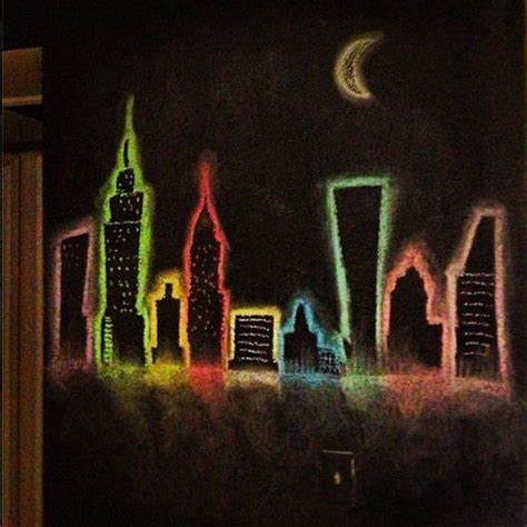 chalk paint new york city new york city skyline chalkboard wall great idea for a