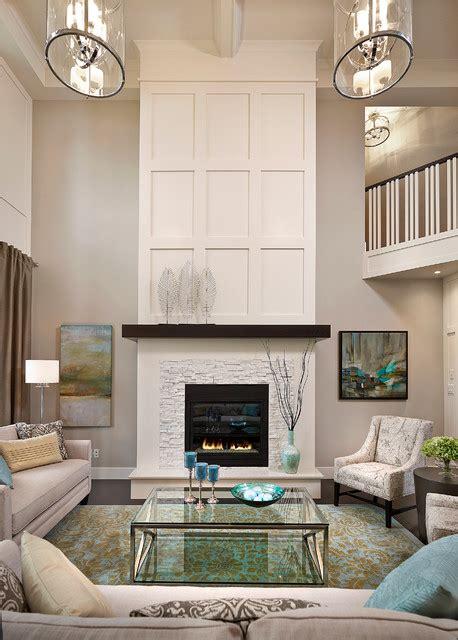 transitional fireplace keswick showhome