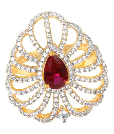 supershine jewelry ruby look cz gold plated
