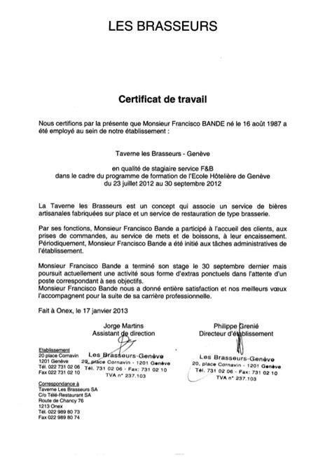 Certificat De Travail Taverne Des Brasseurs Cornavin