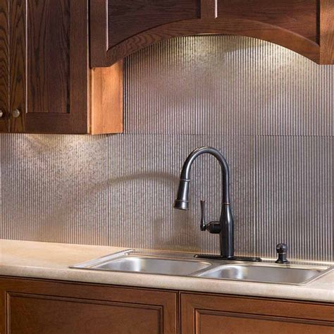 Tin Backsplashes For Kitchens by Fasade Backsplash Rib In Galvanized Steel