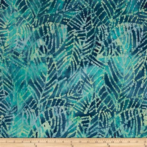 indian batik moody blues leaf abstract blue green