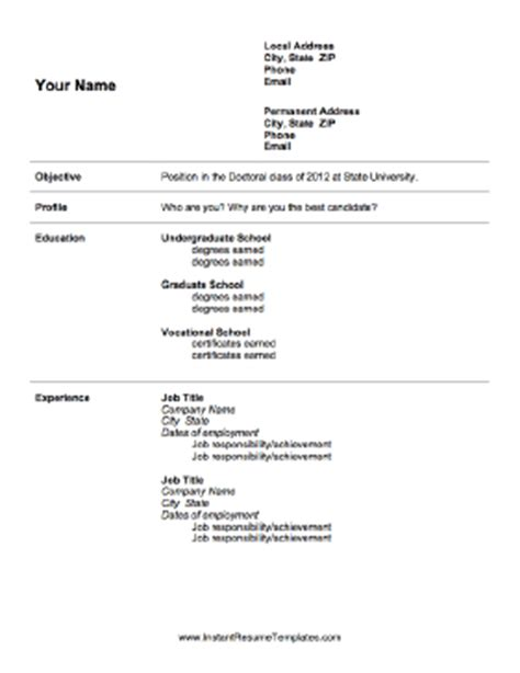 Resume Sles For Graduate School Admission Graduate School Admissions Resume Template