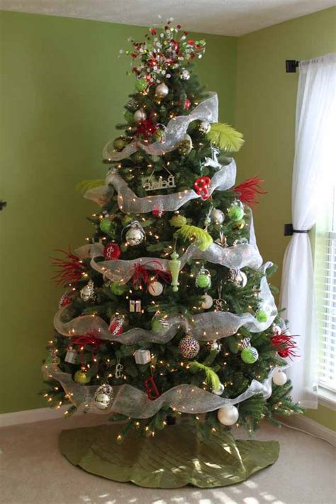 decorated christmas trees with mesh ribbon pictures
