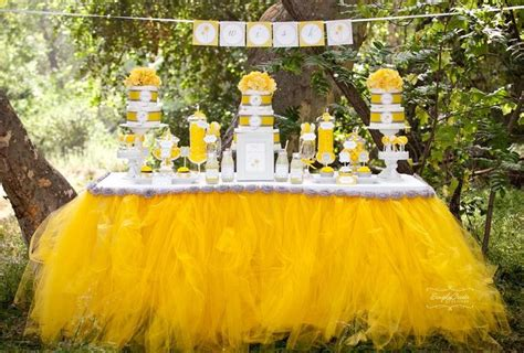 Yellow Baby Shower Decorations by Yellow And Grey Table Babies