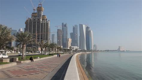 corniche in corniche in doha qatar stock footage 1931938