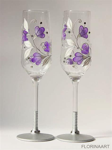 Purple Wedding Glasses, Purple Wine Glasses, Purple
