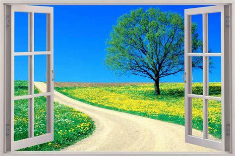 Walsticker 3d Pohon 3d window view enchanted meadow wall sticker mural decal wallpaper ebay