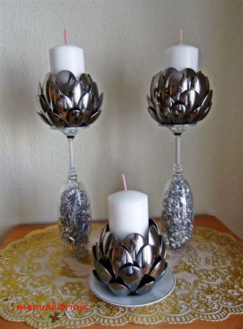 candelabros hechos con material reciclable manualidades manualytrinix portavelas de cucharas