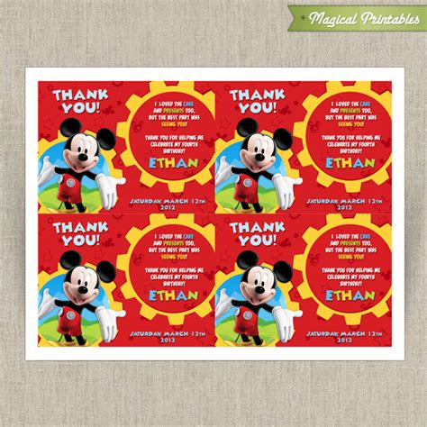 mickey mouse thank you cards template disney mickey mouse clubhouse printable birthday thank you