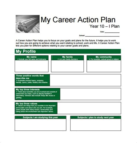 how to write a career plan template career plan template 8 free word excel pdf
