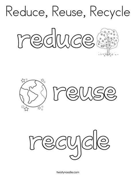 reduce reuse recycle coloring page twisty noodle