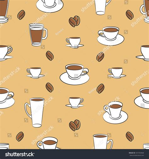 wallpaper coffee cartoon vector pattern different cups coffee coffee stock vector