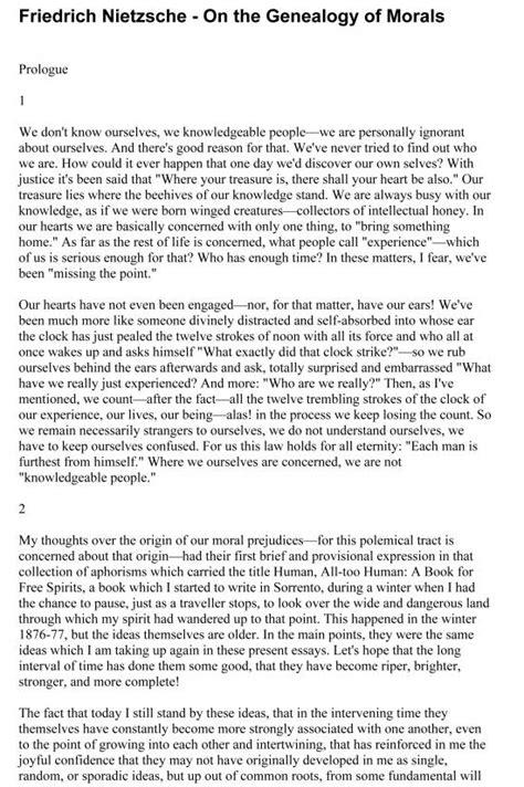 Nietzsche Genealogy Of Morals Preface And Essay nietzsche genealogy morals essay 3