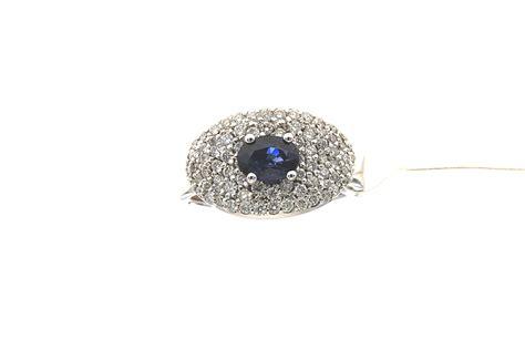 pave di brillanti anello con zaffiro e pav 232 di brillanti 0 95 g zaf 0 76