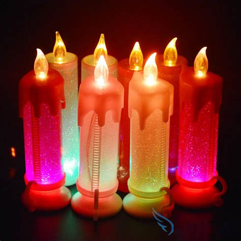 colorful candles new plastic colorful candle shape led fliker flameless