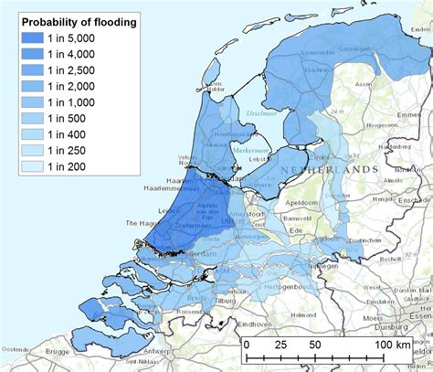netherlands flood map flooding risk in the netherlands major flood once every x