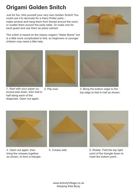 Golden Snitch Origami - origami golden snitch