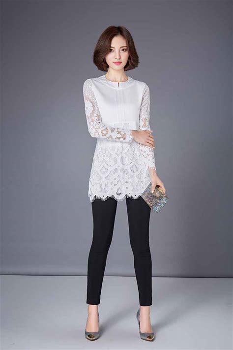 Blouse Brukat Putih Import blouse putih kombinasi brokat panjang 2016 model terbaru jual murah import kerja