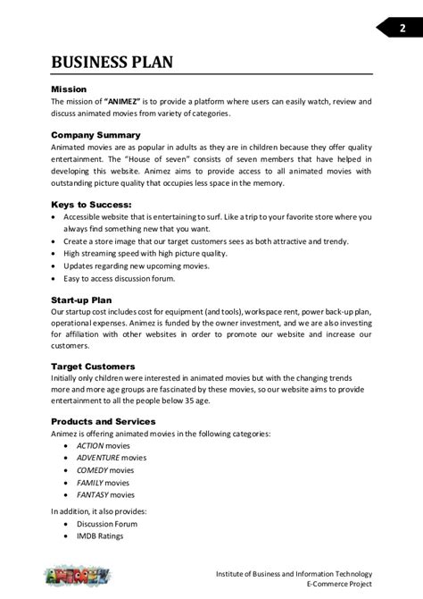 technology business plan template business plan