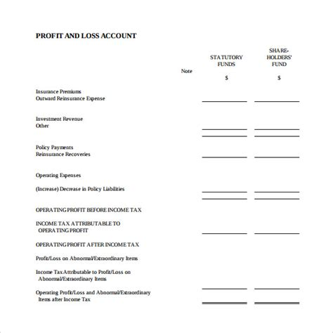 profit and loss account template profit and loss template 18 free documents in
