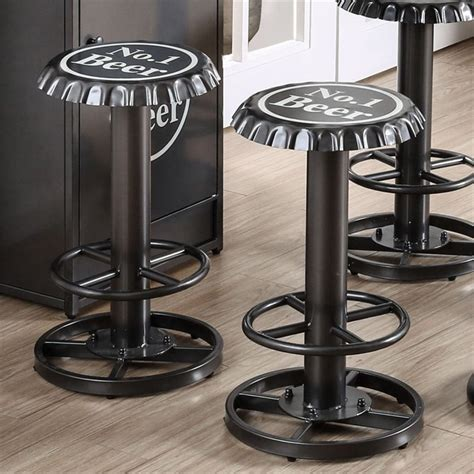 Bottle Cap Table And Stool Set by Furniture Of America Herfer Bottle Cap Bar Stool In