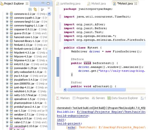 xml testing tutorial eclipse and ant configuration steps to generate webdriver