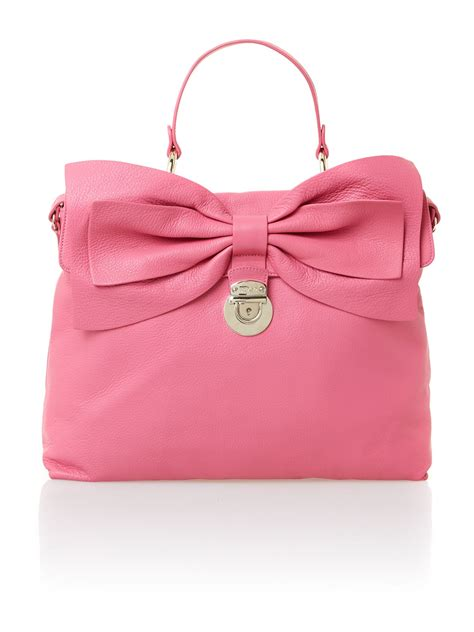 valentino pink bow tote bag in pink lyst