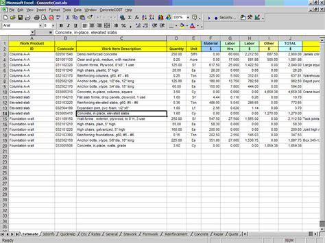 approved contractors list template concrete cost estimator