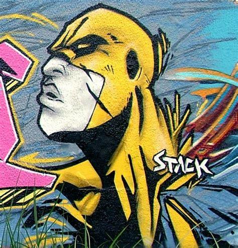 superhero character  stack graffiti mural art digital