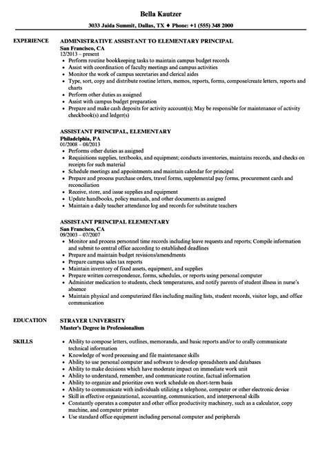 Elementary Resume by Elementary Principal Resume Sles Velvet